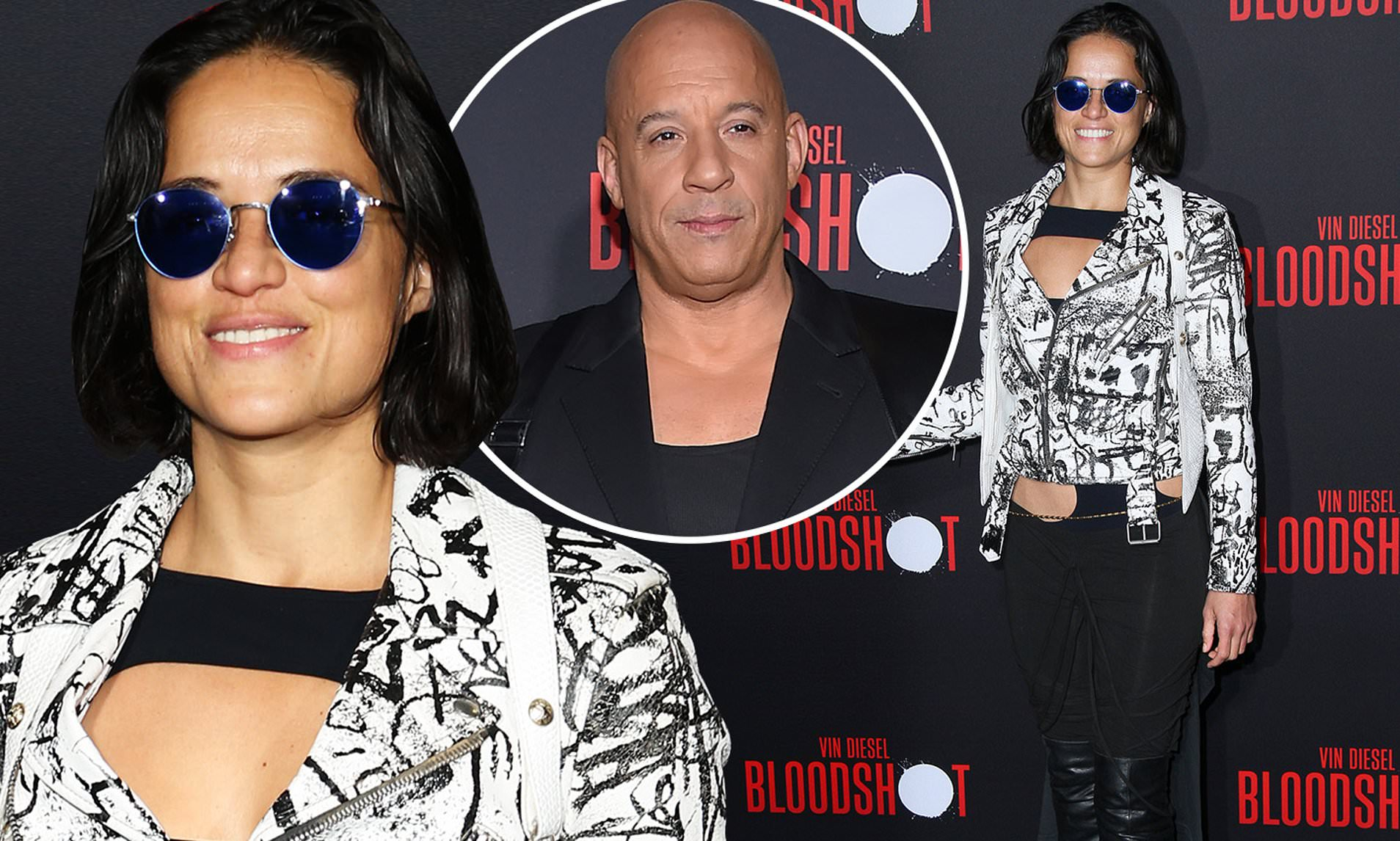 Michelle Rodriguez Supports Onscreen F9 Husband Vin Diesel At La Premiere Of His Movie Bloodshot Daily Mail Online